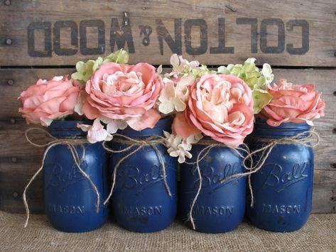 Set of 4 pint mason jars, painted mason jars, flower vases, rustic wedding means … – wedding centerpieces Blue Mason Jars, Mason Jar Flowers, Rustic Mason Jars, Mason Jar Diy, Flower Vases, Rustic Vases, Diy Flowers, Vintage Flowers, Faux Flowers