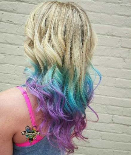 Blonde Purple Blue Dyed Hair Mermaid Hair Hair Color Blue Blonde Hair Color