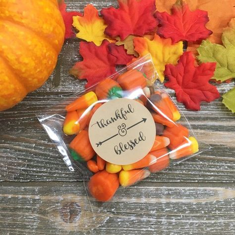 Thanksgiving favors, stickers and bags, set of 20, Thankful & Blessed, Matte white, Kraft brown, aut