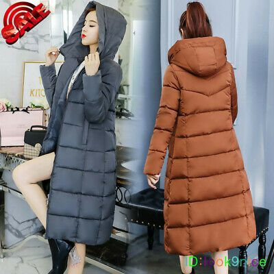 Girls Long Winter Warm Quilted Padded Jackets Coats Outerwear With Fur Collar