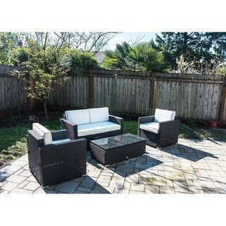 Outsunny 4 Piece Outdoor Rattan Wicker Sofa Sectional Patio