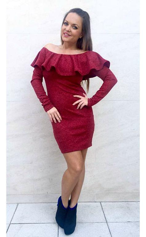 47e7823546 Alkalmi Spanyol vállú ruha, bordó piros ruha - Őszi Téli ruhák - Női Ruha  Webáruház