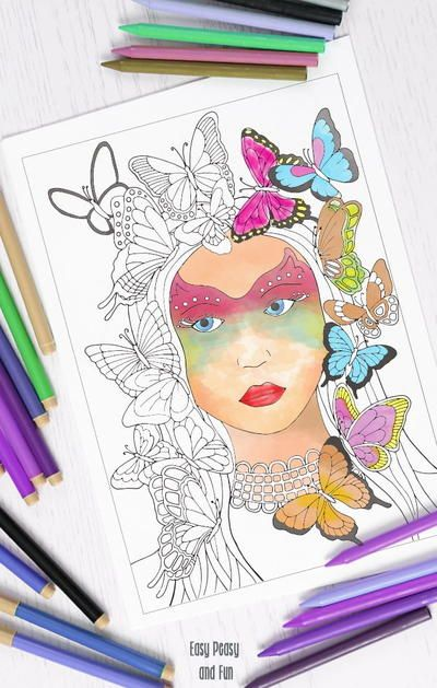 Lady Butterfly Adult Coloring Page | Adult coloring, Coloring ...