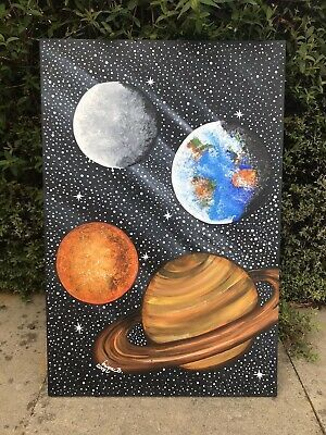 Hand Painted Space Planet Painting Decorative Canvas Painting Contemporary Art Wall Decoration In 2020 Planet Painting Acrylic Painting Canvas Small Canvas Art