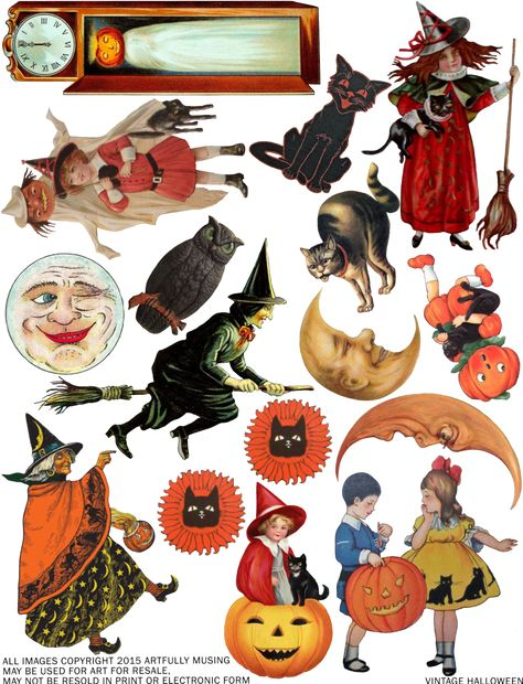 Best 25 Vintage halloween images ideas in free printable vintage halloween clip art collection - ClipartXtras Retro Halloween, Halloween Tags, Feliz Halloween, Fröhliches Halloween, Vintage Halloween Images, Halloween Prints, Holidays Halloween, Whimsical Halloween, Vintage Halloween Decorations