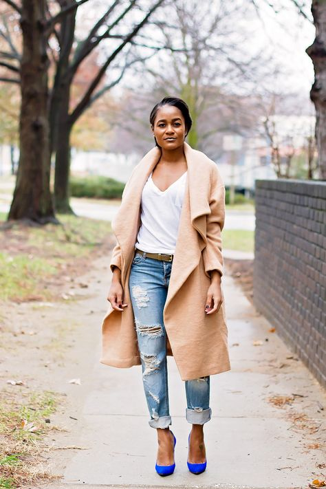 Boyfriend Jeans Camel Coat   Fashion