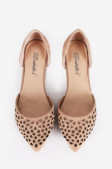 I like the style Perforated Pointy Toe Dorsay Flats - Natural - Bare Feet Shoes - 3