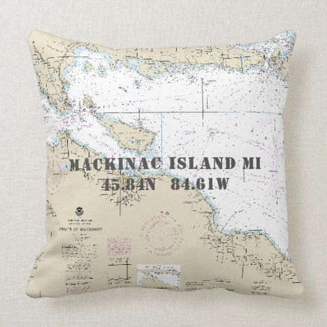 Nautical Latitude Longitude Mackinac Isl Michigan Throw Pillow Zazzle Com Throw Pillows Trendy Pillow Pillows