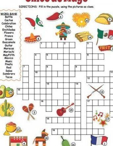 Here Is An Engaging Cinco De Mayo Crossword That Is Perfect For Kids The Clues Are Given As Images In 2020 Cinco De Mayo Crafts Cinco De Mayo Cinco De Mayo Activities