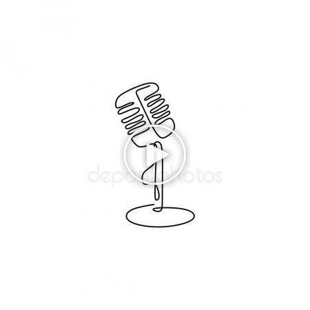 Diseno Minimalista De Una Linea De Microfono Con Cable Ilustracion Vectorial Diseno Diseno Minimalista Ilustracion Vectorial Disenos De Unas