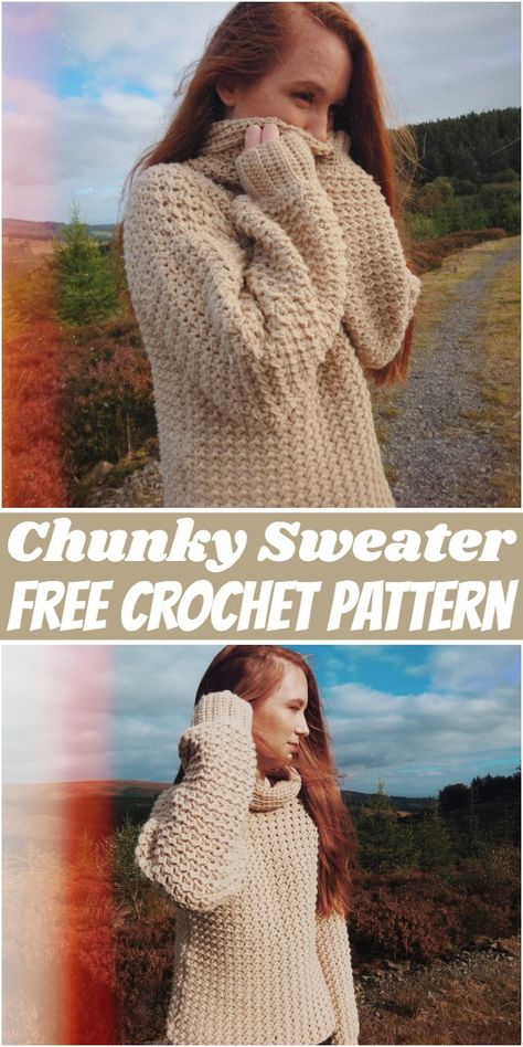 Try this excellent looking chunky crochet sweater pattern to create beautiful decorative accessories for yourself. Crochet Jumper Pattern, Diy Crochet Jumper, Free Crochet Sweater Patterns, Crochet Jumpers, Crochet Sweaters, Crochet Tops, Crochet Patterns Free Women, Chunky Crochet, Crochet Dresses