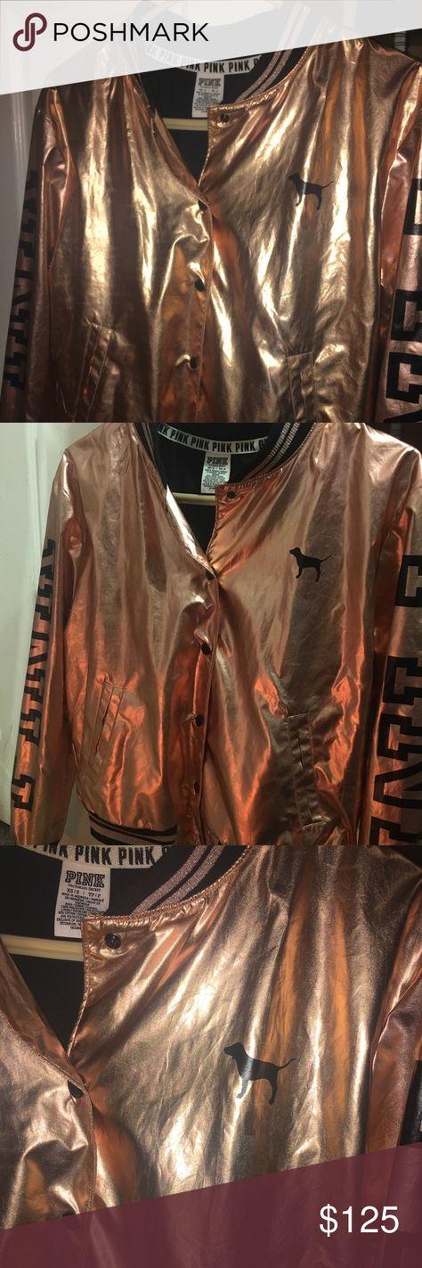 Victoria Secret Pink Rose Gold Bomber Jacket