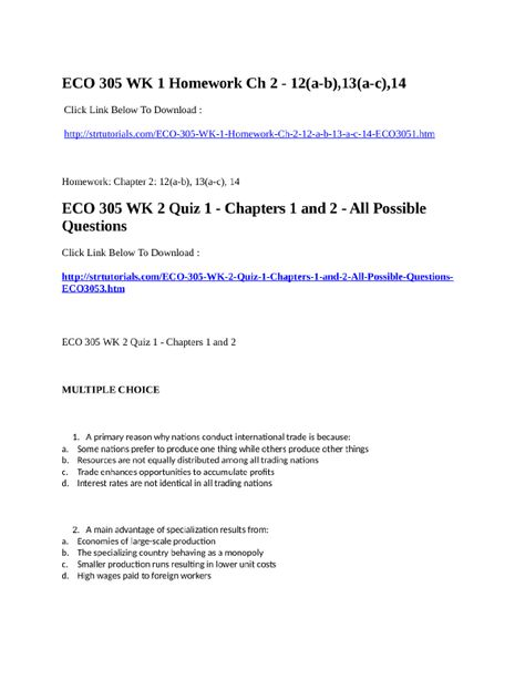 Eco 305 wk 2 quiz 1 chapters 1 and 2 all possible questions - resume for bus driver