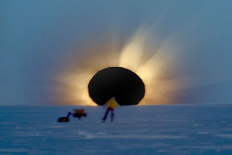 This is what a total Solar eclipse looks in Antarctica, near the bottom of the world. It occurs when the dark silhouette of the Moon complet...