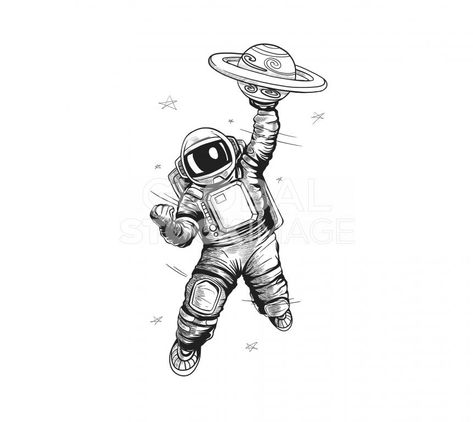 Astronaut Graphic Image Have White Background With Global On Hand -  Global Stock Image