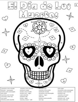 Dia De Los Muertos Color By Number Page 2 Forms By Classroom Companero Summer Coloring Pages Easter Colors Christmas Color By Number