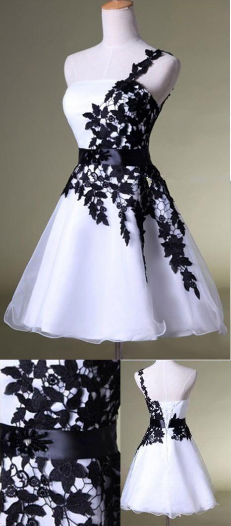 85f03e4e628 Hot Sales Vintage Black Lace White Organza Short Prom Dresses ...
