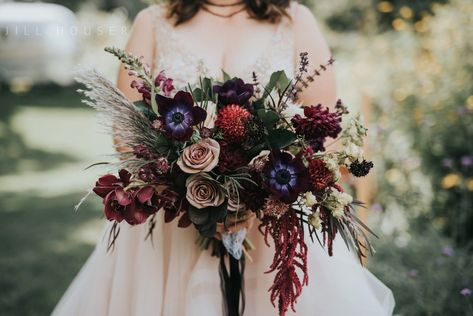 Flowers by Lace and Lilies, bridal bouquet, moody flowers, burgundy wedding, dusty colored wedding, pampas grass, lyons farmette wedding, colorado wedding, anemone, amnesia roses