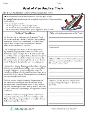 Point Of View Practice Titanic Authors Point Of View Author S