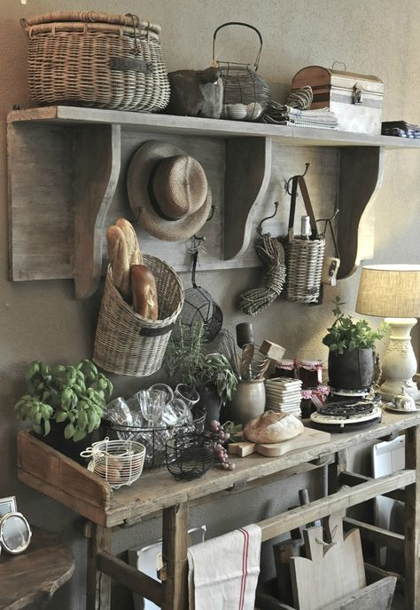 rustic country farmhouse kitchen decor storage ideas natural wood baguette basket barn renovation pinterest inspired shop room ideas cottage buffet ideas
