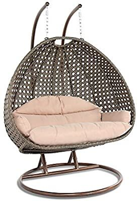 Amazon Com Deluxe Swing Chair Outdoor Furniture Pe Rattan Wicker Hanging Hammock With Stand Cushioned Loveseat Chaise Loung In 2020 Swinging Chair Wicker Swing Chair