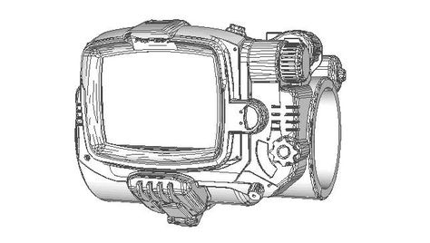 Fallout 4 - Pip-Boy 3000 Mark IV Papercraft Free Template Download - pip template