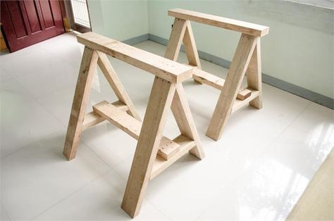 * HOW TO BUILD A SAWHORSE *   A Sawhorse is a woodworking apparatus used to support a board or plank for sawing. This is a great tutorial on how to build a sawhorse. For amateurs and pro's alike, this step-by-step guide will take a mere 2+ hours to finish. All materials and tools needed are included in the guide, along with photos to assist in your endeavor. A detailed plan is provided, as is advice in taking caution to avoid inhaling dust. Build on!!