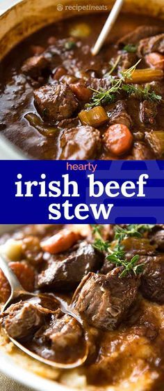 A hearty stew with Guinness Beer that gives the sauce an incredible rich, deep flavour, and the beef is fall-apart tender. A hearty stew with Guinness Beer that gives the sauce an incredible rich, deep flavour, and the beef is fall-apart tender. Crock Pot Recipes, Best Beef Recipes, Beef Recipes For Dinner, Irish Recipes, Meat Recipes, Cooking Recipes, Healthy Recipes, Salad Recipes, Chicken Recipes