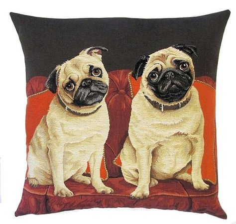 jacquard woven belgian tapestry cushion pillow cover pugs on a sofa