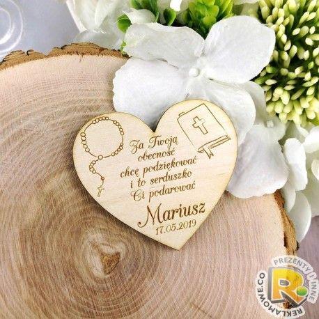 Drewniane Magnesy Na Lodowke Podziekowania Dla Gosci Komunia Serce Sugar Cookie Diy