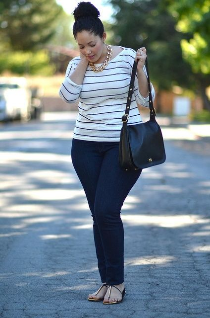 Simple jeans and stripes. Girl With Curves