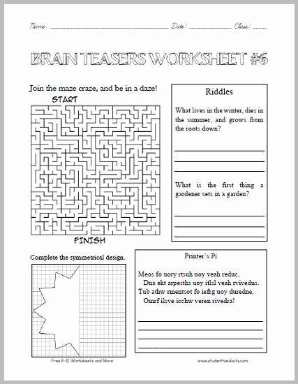 Brain Teaser Worksheets Middle School Best Of Brain Teasers Worksheet 6 Here Is A Fun Handout Full In 2020 Brain Teasers For Kids Printable Brain Teasers Brain Teasers Science brain teasers worksheets