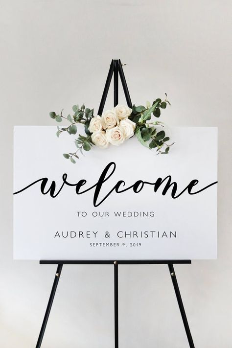 @cecilia.sebastianpaperco | ceciliasebastianpaperco.com | Welcome your guests in style with a Modern Script Welcome Sign Template from Cecilia & Sebastian Paper Co. This template features a romantic script paired with modern, minimalist font.  By purchasing this design you agree that you are