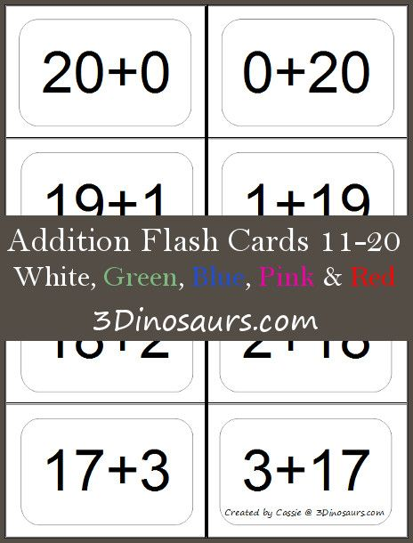 photograph about Printable Addition Flash Cards 0-20 identified as Pinterest