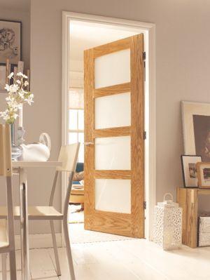 Hardwood Oak Shaker 4 Light Internal Door With Obscure Glass Travis Perkins Internal Doors Glazed Door Home