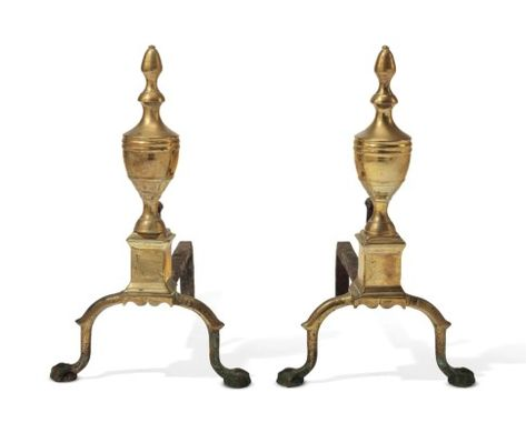 A Pair Of Federal Brass Andirons Possibly Philadelphia 1790