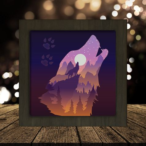 Shadow Light Box, Diy Shadow Box, Shadow Box Frames, 3d Cuts, Paper Box Template, Paper Light, Animal Projects, Paper Gifts, Paper Cutting