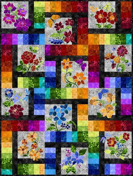Enchanted Garden Bom With Images Flower Quilts Garden Quilt