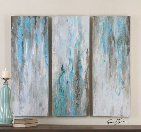 Wall Art   Abstract Painting Blue/Grey   Set Of 3 | Relaxation Room |  Pinterest | Blue Grey, Gray And Walls