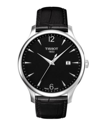 Tissot Men's Tradition Black Leather Strap Watch 42mm - Black