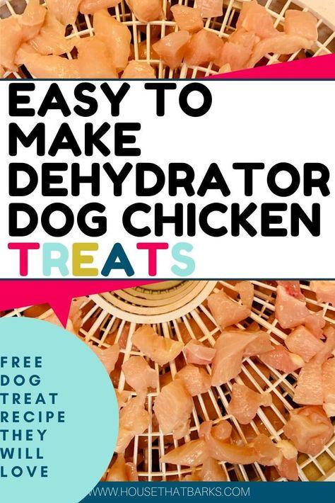 Easy to make dehydrator chicken dog treats. #dog food, #homemade dog food, #dog treats, #treats