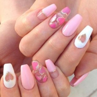 16 Secrets To Valentines Day Nails Acrylic Coffin 8 Heart Nail Designs Nail Designs Valentines Heart Nails