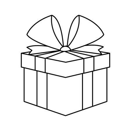 Christmas Present Box Gift Ribbon Decoration Outline Vector Illustration Gift Drawing Christmas Present Drawing Present Drawing