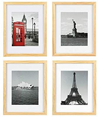 Amazon Com One Wall Tempered Glass 11x14 Picture Frame Solid Wooden Frame Set Of 4 With Mats For 8x10 Photo In 2020 11x14 Picture Frame Picture Frame Sets Frame Set