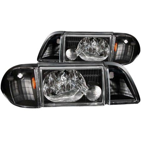 Anzo 1987 1993 Ford Mustang Crystal Headlights Black W Corner Lights 2pc Walmart Com In 2021 1993 Ford Mustang Ford Mustang Mustang