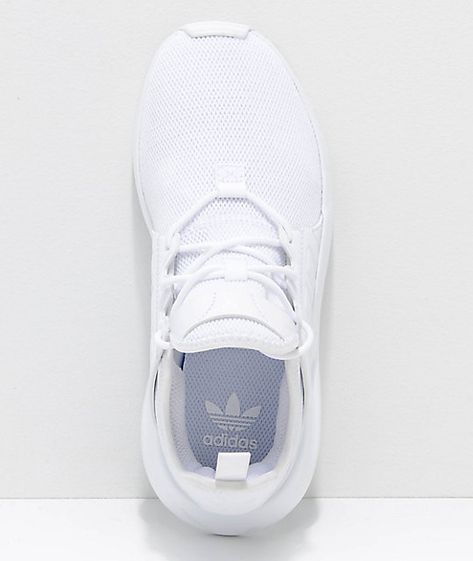 Athletic in nature, the Xplorer All White Shoes have a runners silhouette draped in clean cut adidas sporty attire. Featured with a woven mesh textile upper, synthetic leather overlays on the sidewalls, and hidden interior gussets for a snug sock-like fit All White Shoes, White Tennis Shoes, Womens White Sneakers, White Nursing Shoes, White Nike Tennis Shoes, White Shoes Outfit, All White Sneakers, Running Adidas, Superstar