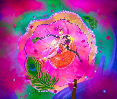 "NIDHI DRAWS💕 on Instagram: ""RadheKrishna🌸🌹🌷 . . . . #nidtoons #radheradhe #radheshyam #पिंक #pink#flowers #fallinginlove #morpankh  #illustration #illustrator…"""