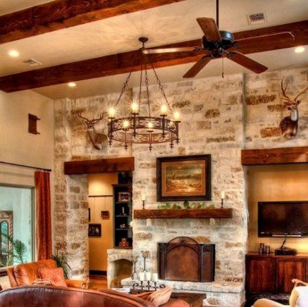 46 Ideas Wall Feature Stone Interiors House Decor Modern Rustic House Hill Country Homes