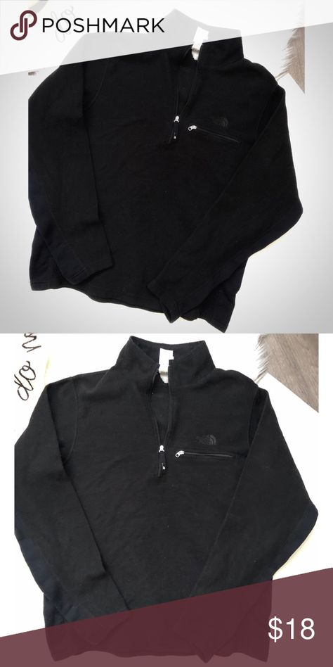 Men's The North Face Quarter Zip Sweater Large Men's The North Face Quarter Zip Sweater  Size Large  Color: black  Condition: pre-owned. Worn a handful of times  Chest: 21 inches  Length 25 inches  Sleeves 30 inches  Smoke/pet/children free household The North Face Sweaters Zip Up