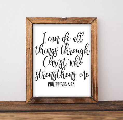 Printable Wall Art, I can do all things through Christ who strengthens me Philippians 4:13 Scripture art, DIY home decor gift idea print art by GracieLouPrintables